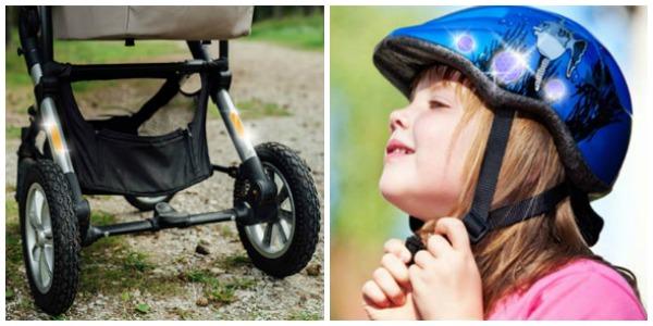 Zugeschnittene Reflexbänder auf Fahrradhelmen und Kinderwagen