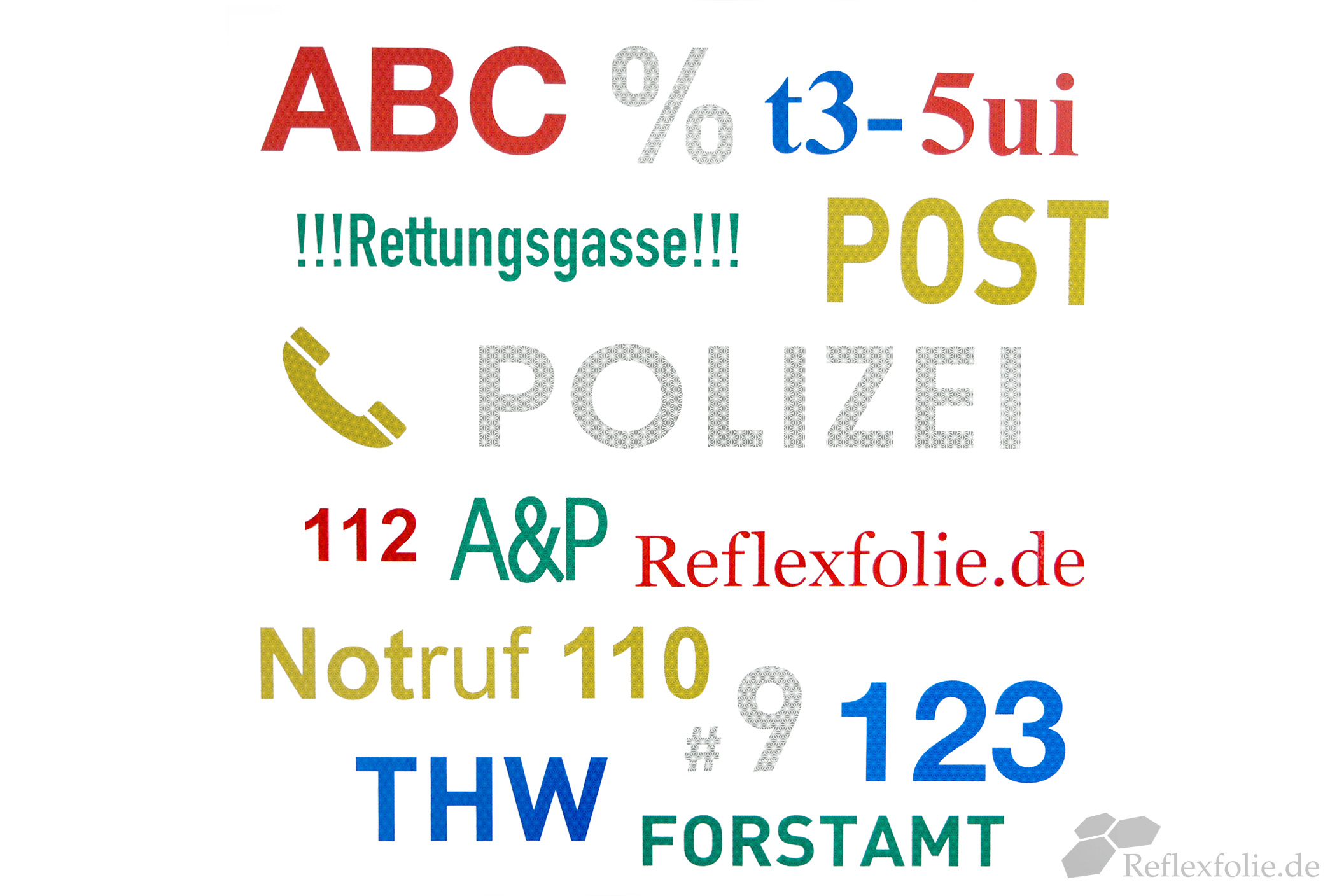 Anwendungsbeispiel reflektierende Buchstaben und Zahlen